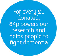 For every £1 donated, 84p powers our research and helps people to understand and fight dementia.
